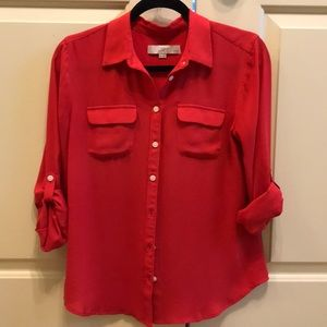 Red Blouse with Pockets